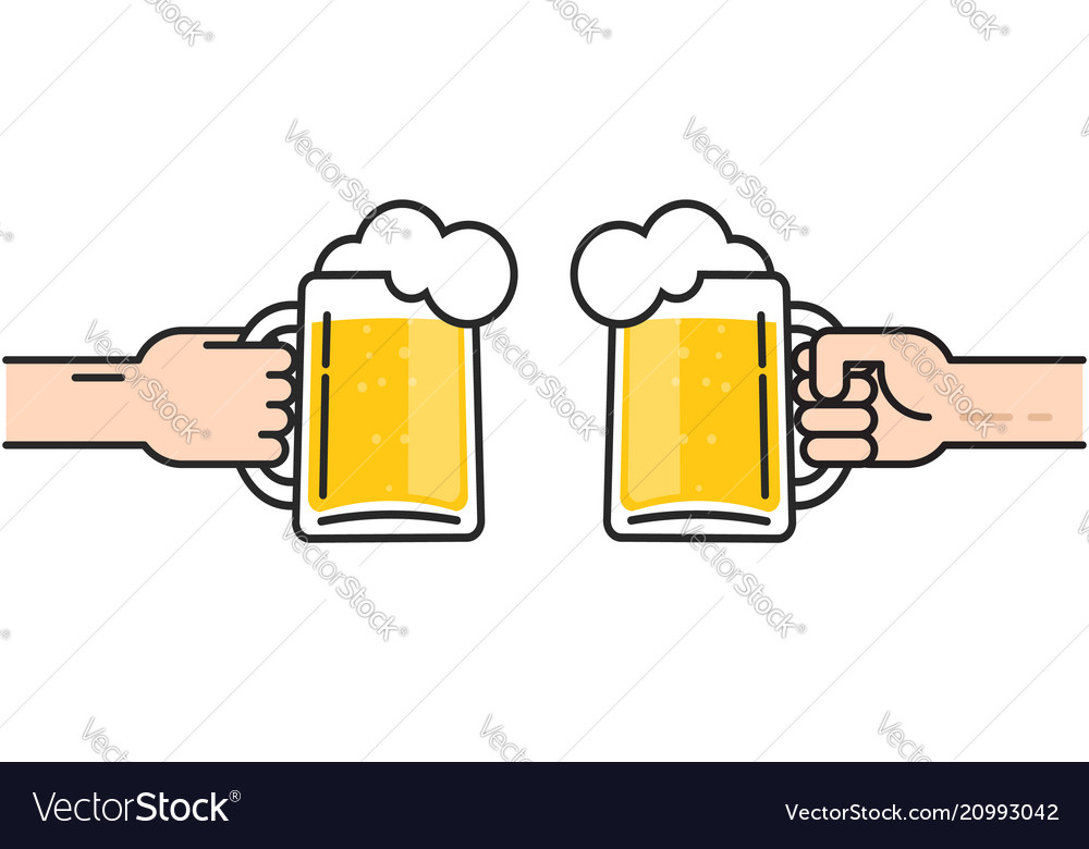 Two friends holding beer glasses with foam