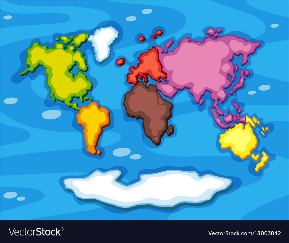 Worldmap in different color continents royalty free vector worldmap in different color continents vector image gumiabroncs Choice Image