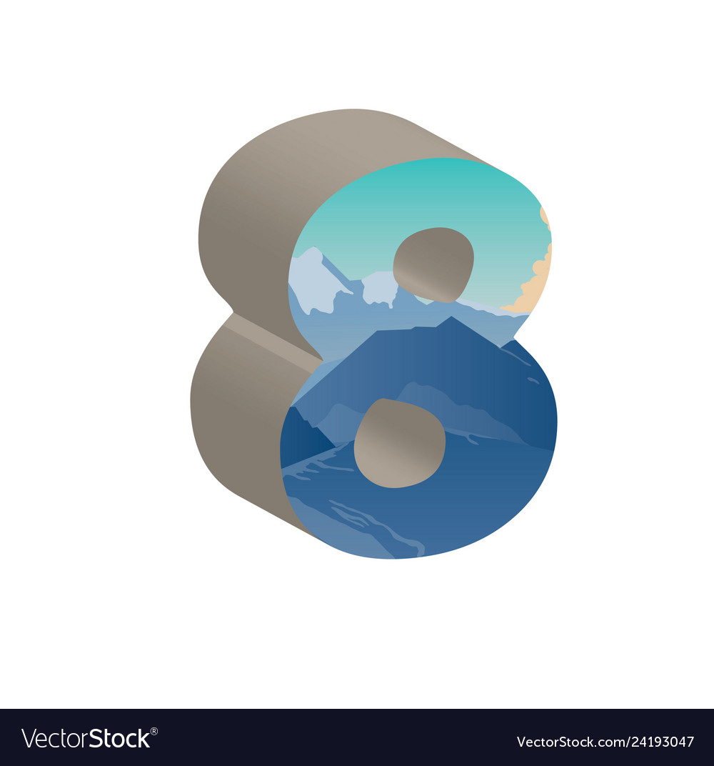 3d number eight of 3d font