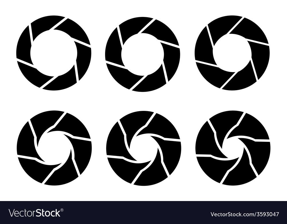 Black camera shutter icons set on white background vector image