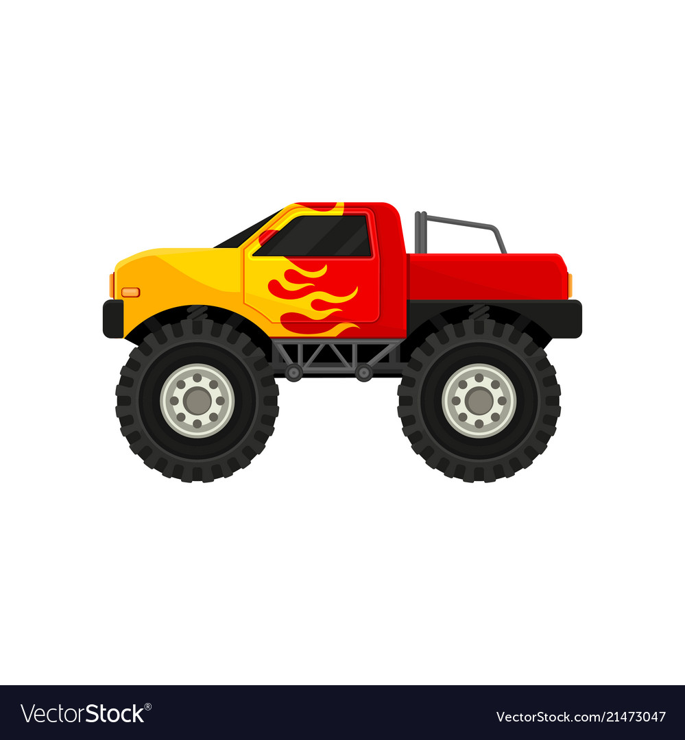 Bright red monster truck with yellow flame decal vector image