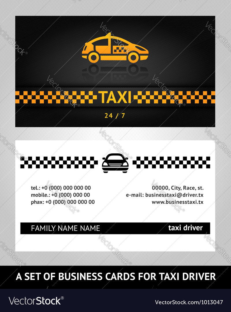business cards taxi cab vector image - Taxi Business Cards