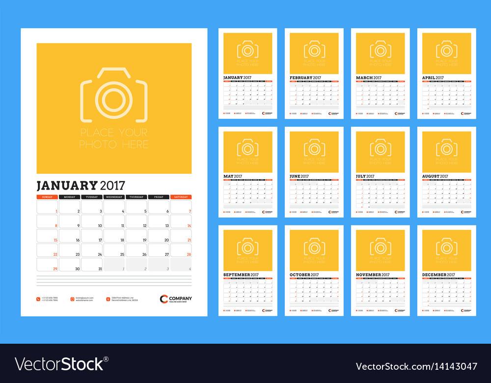 Calendar template for 2017 year week starts