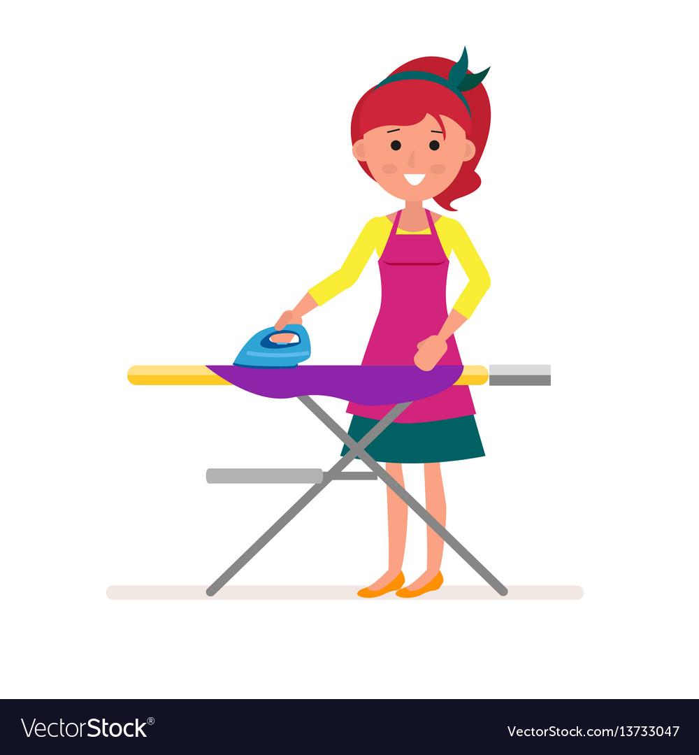 Cartoon housekeeper or servant housewife ironing