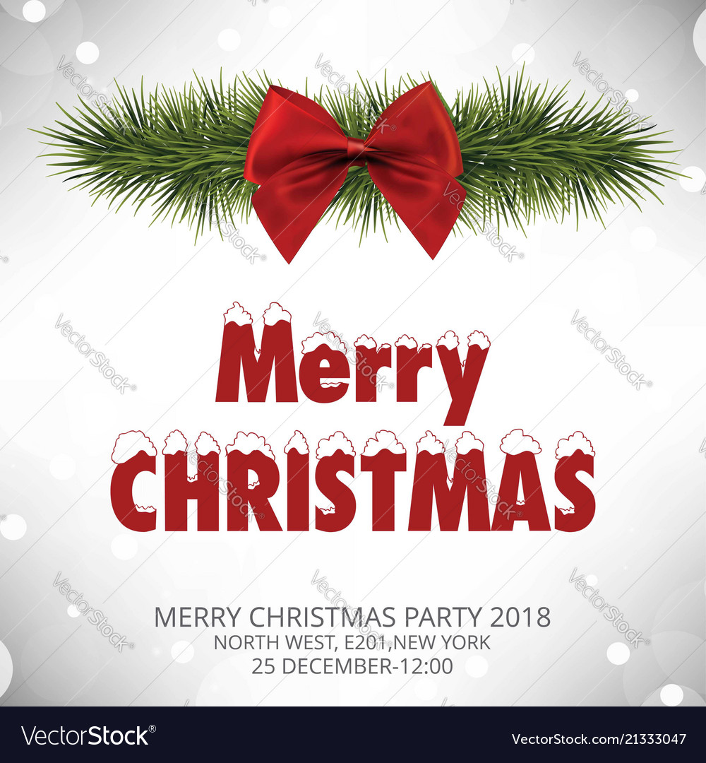 Christmas invitation card with red bow