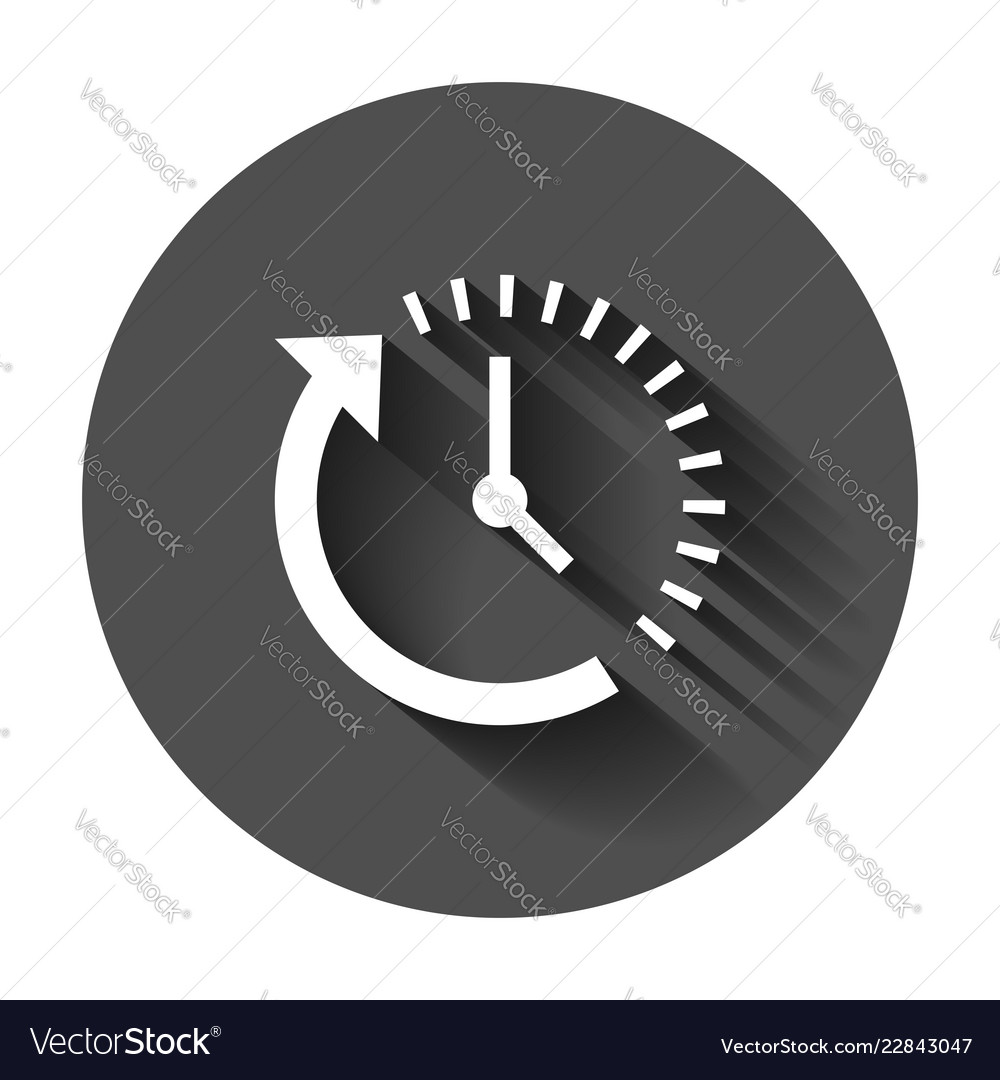 Clock countdown icon in flat style time