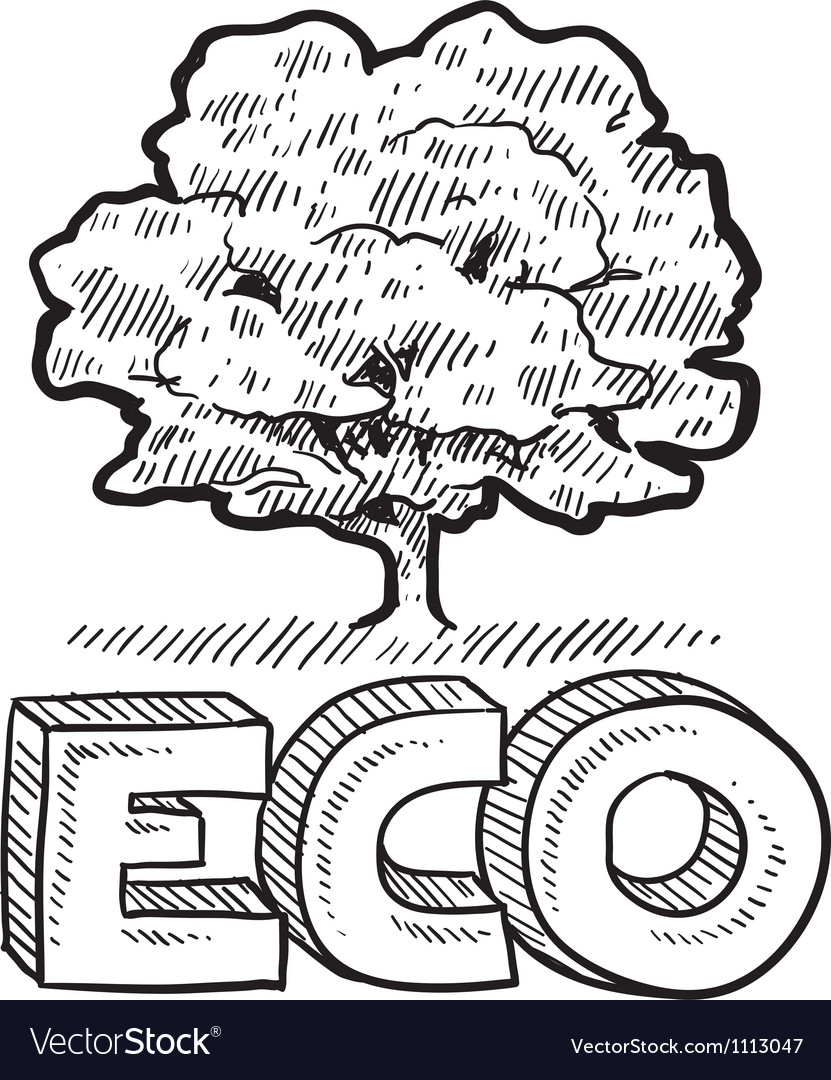 Doodle eco tree vector image