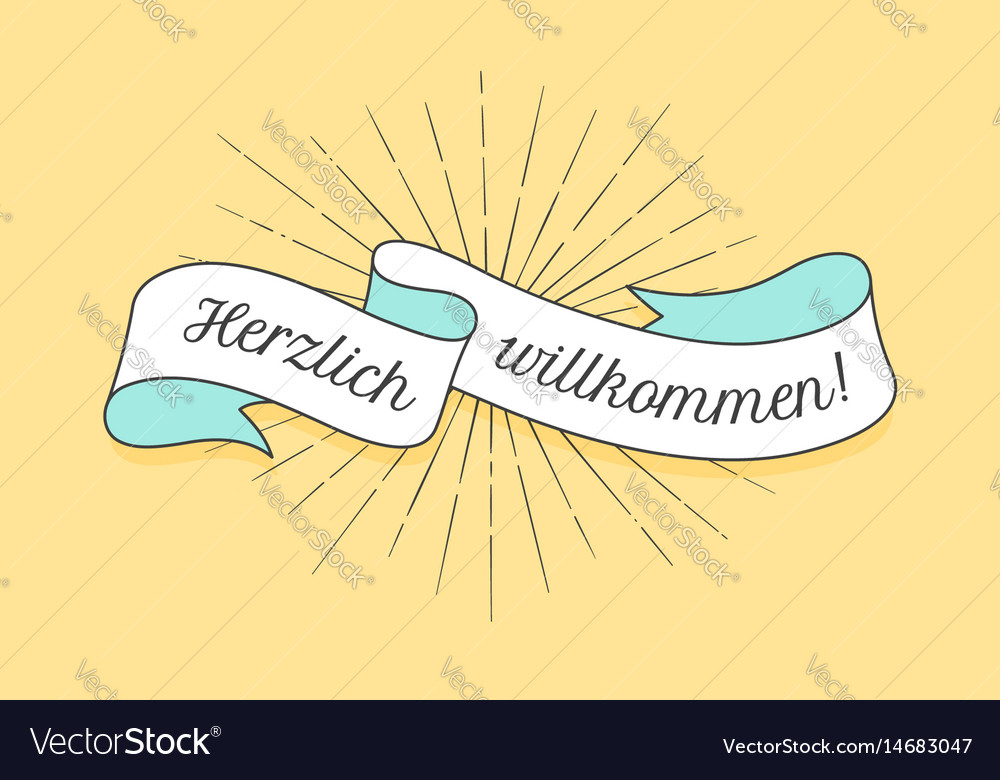 Herzlich wllkommen old school vintage ribbon vector image