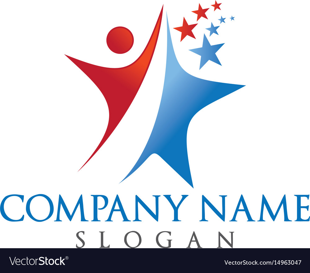 Human and star logo design
