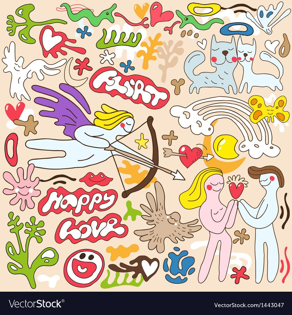 Love Valentines day - doodles set vector image