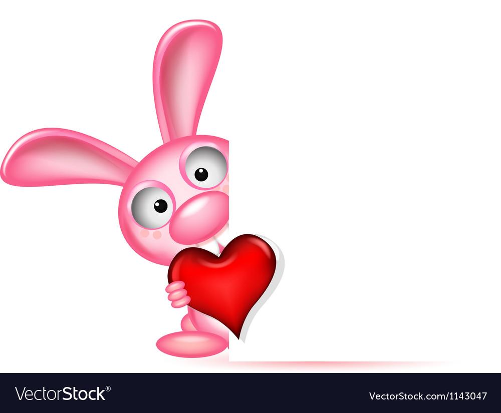 Lovely rabbit holds love heart