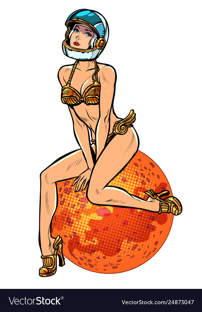 Red planet mars sexy beautiful woman astronaut in