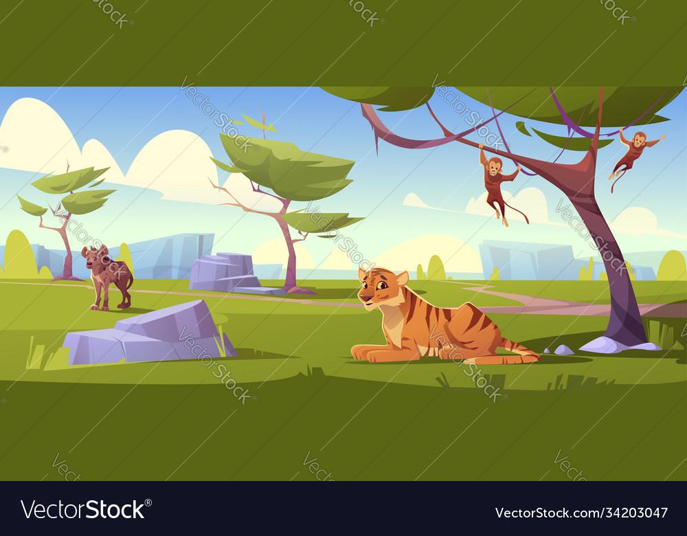 Savannah landscape with tiger monkeys and jackal
