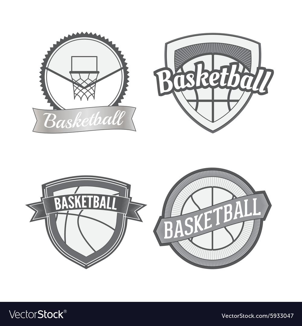 Set of Basketball vintage Labels