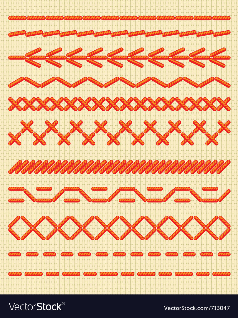 Sewing stitches patterns vector image