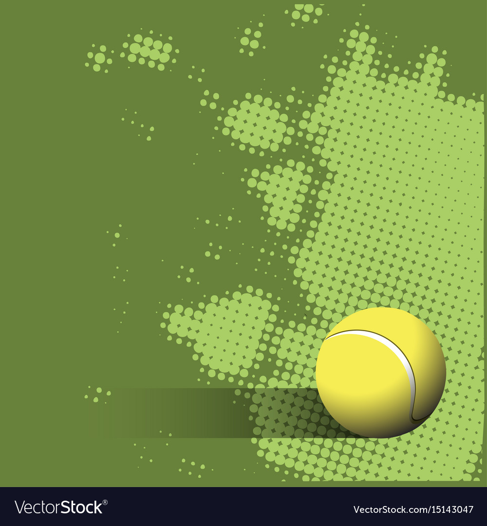 Tennis Ball On A Green Background Royalty Free Vector Image