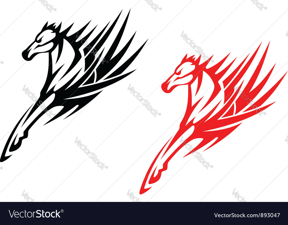 Tribal Horses For Tattoo Design Royalty Free Vector Image