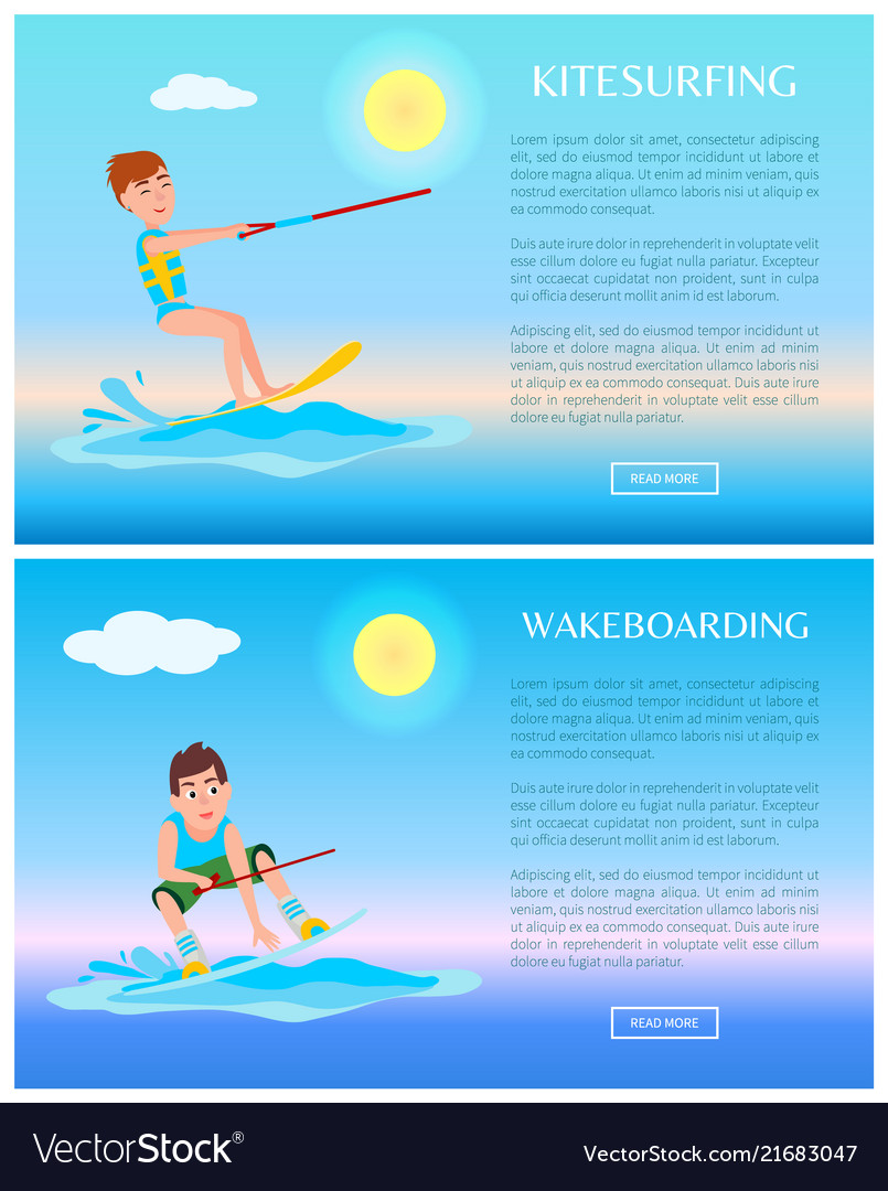 Wakeboarding and kitesurfing sports color posters