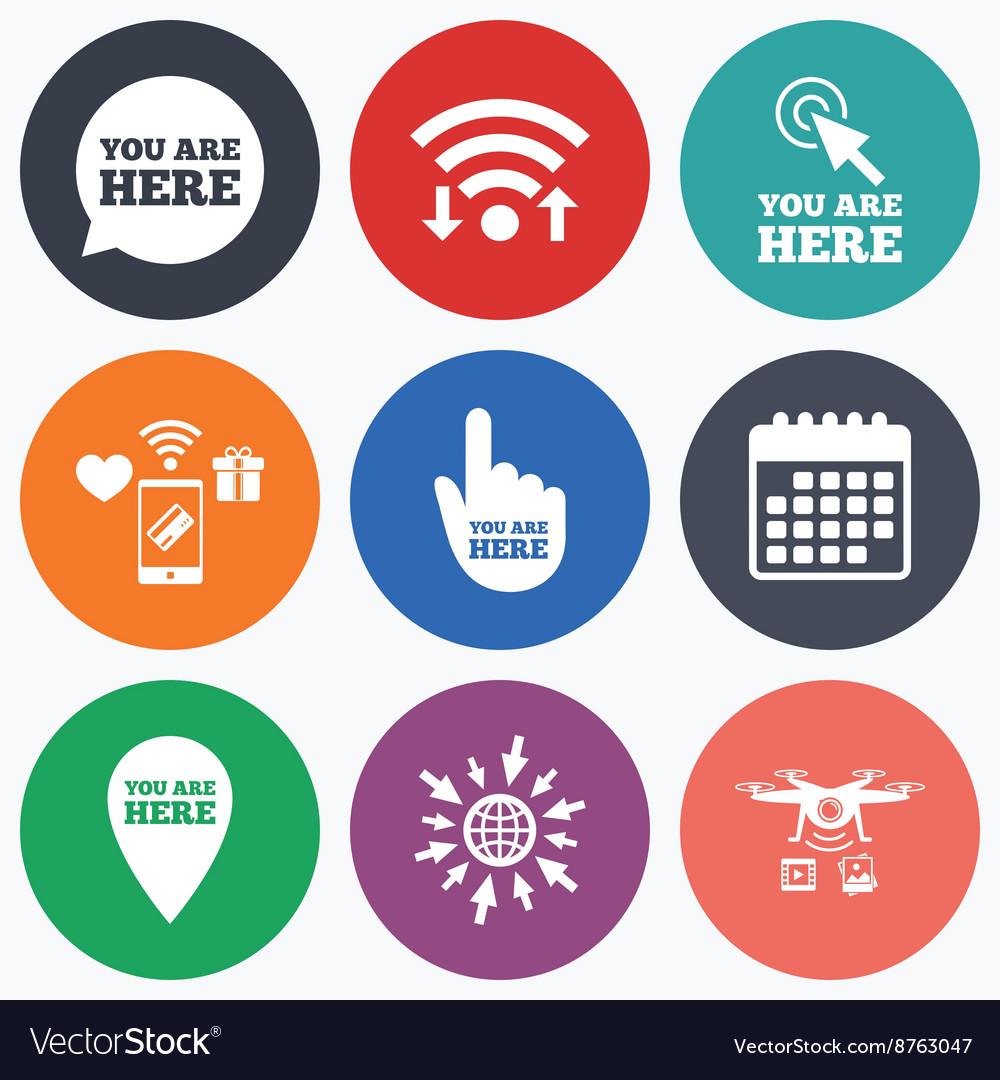 You Are Here Icons Info Speech Bubble Sign Vector Image