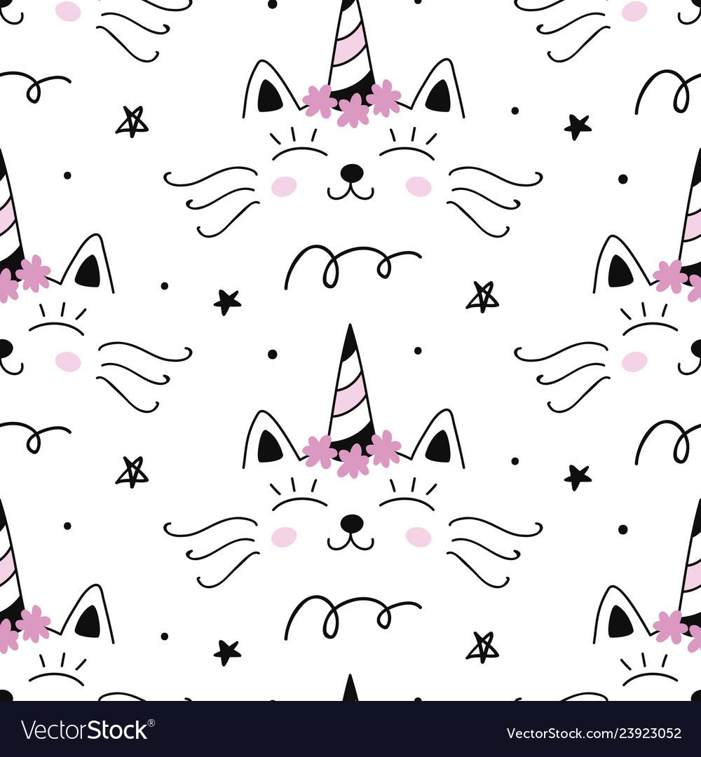 Cat unicorn capricorn seamless pattern