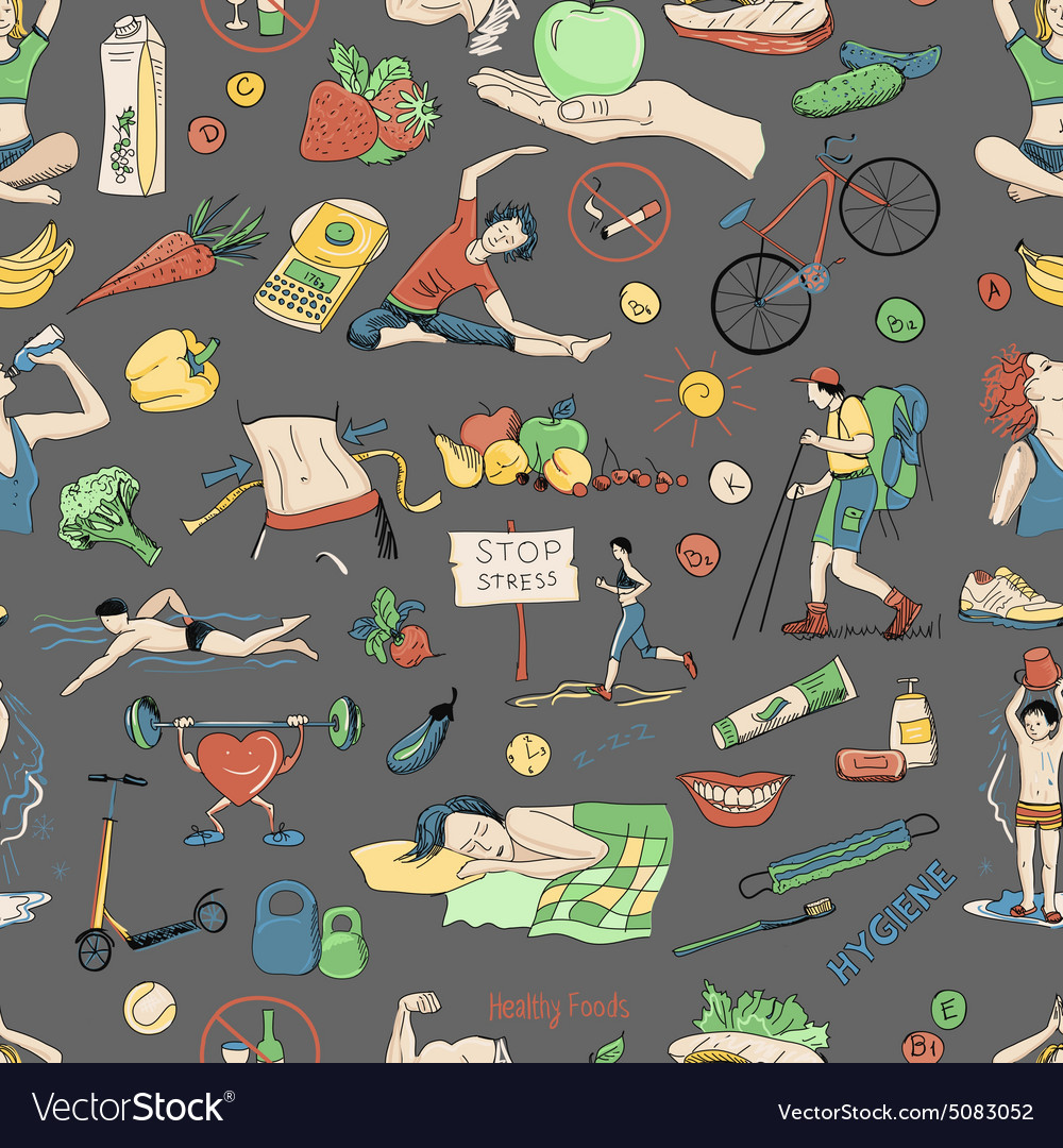 Colored seamless pattern with healthy lifestyle