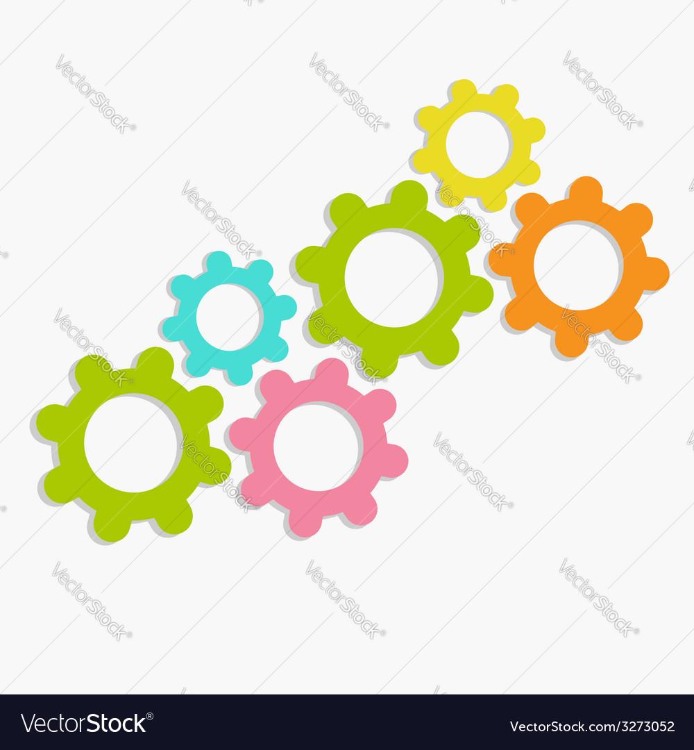 Colorful cogwheel gear set Flat design