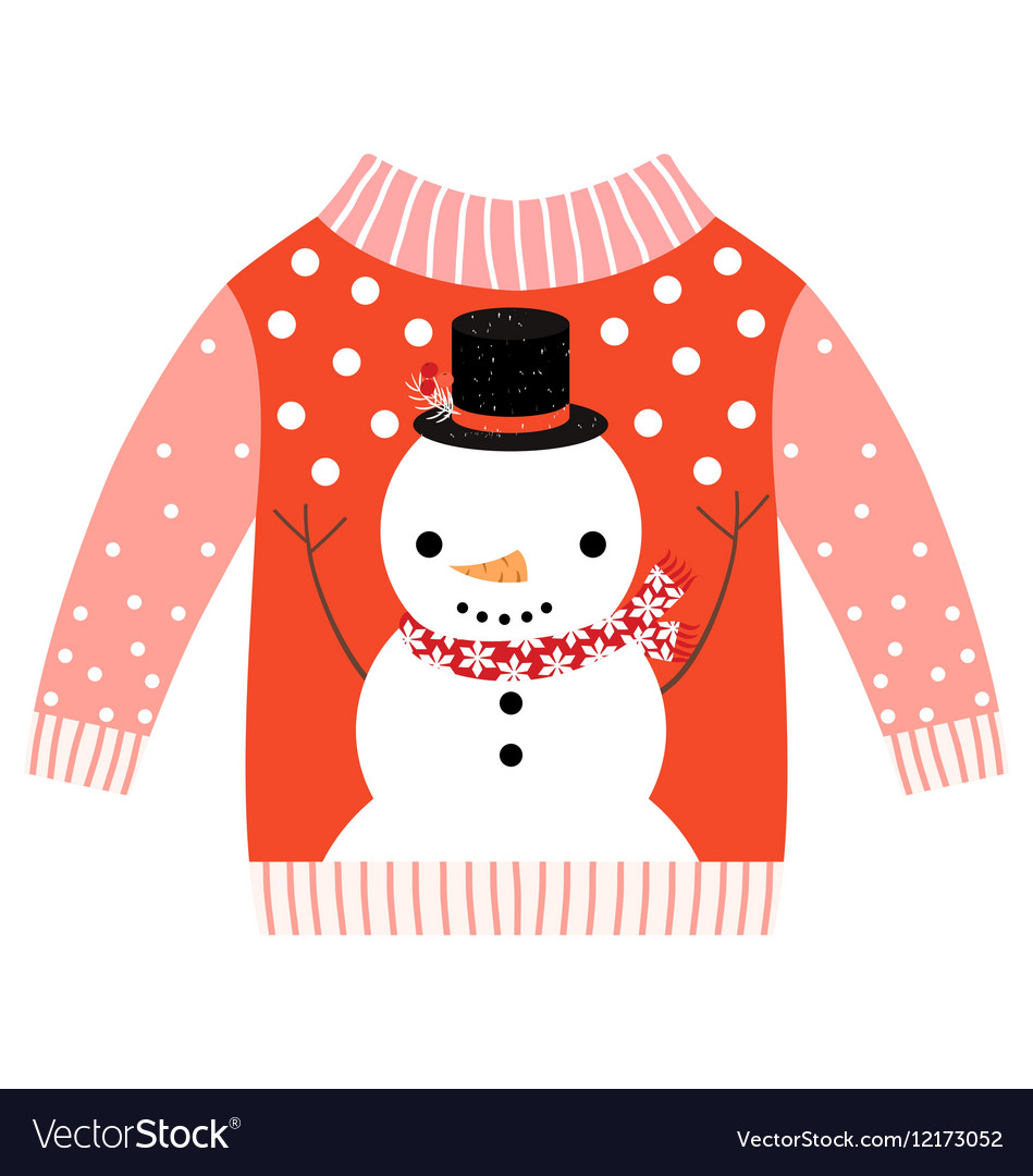 Christmas Sweaters Cute.Cute Ugly Red Christmas Sweater With Snowman