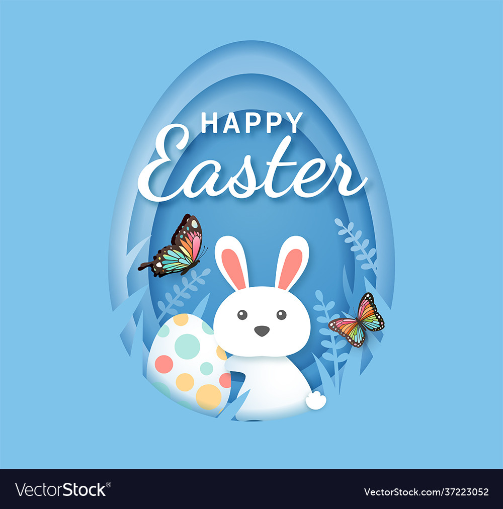 Easter day banners rabbit with eggs
