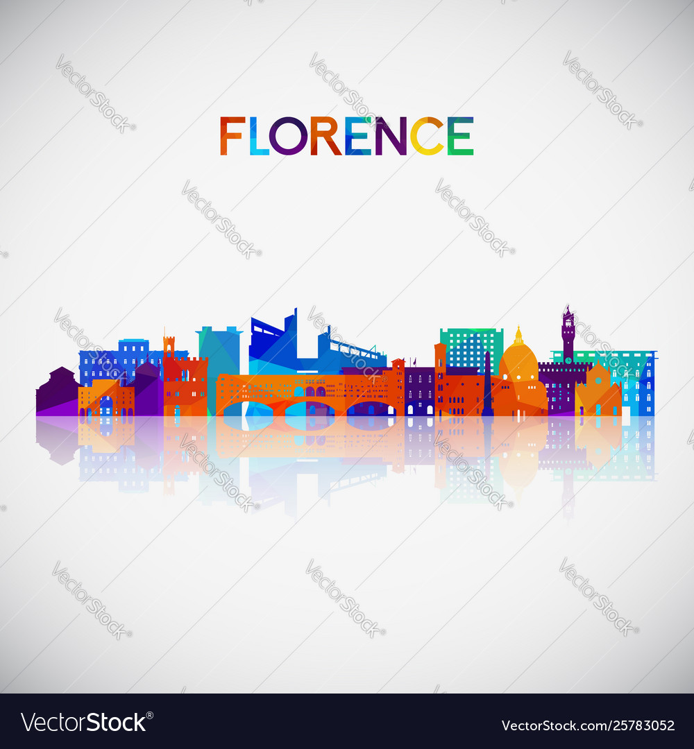 Florence skyline silhouette in colorful geometric