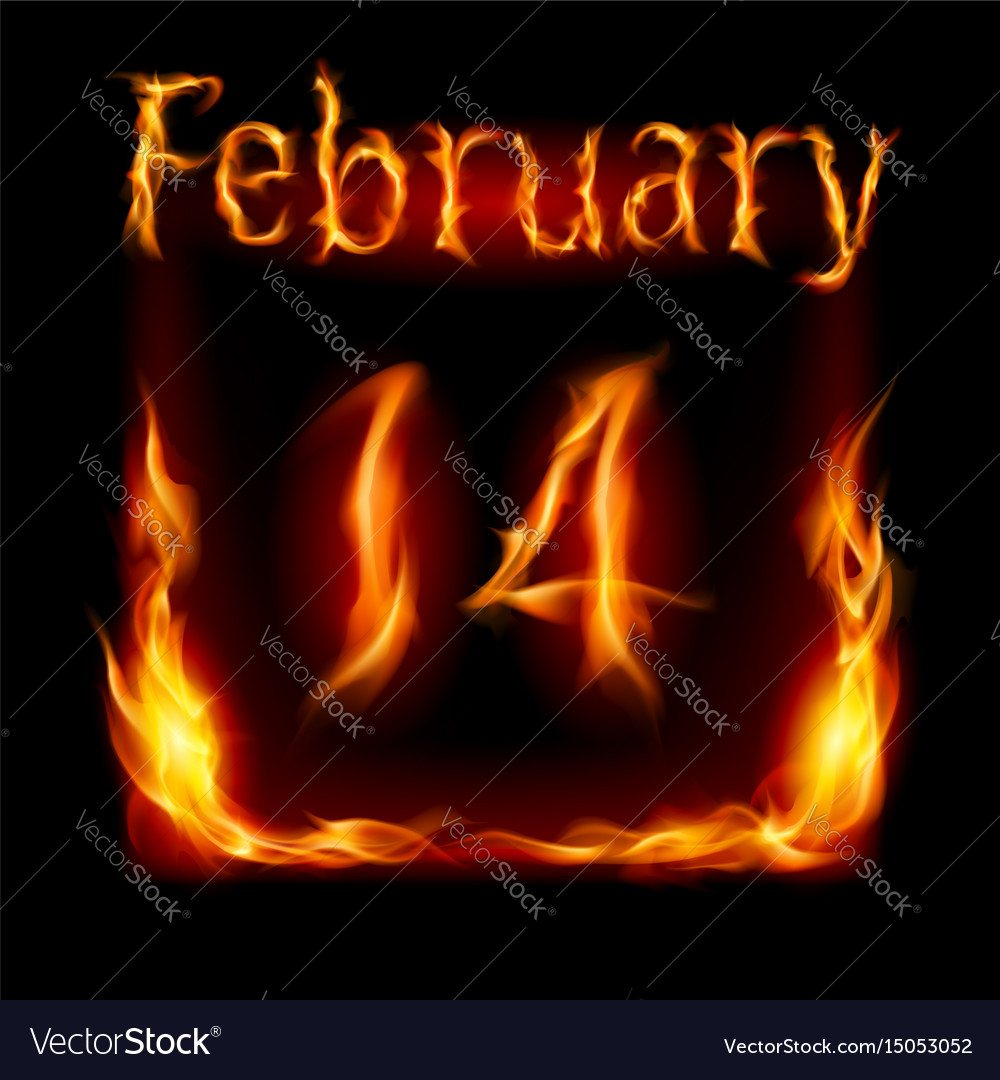 Fourteenth february in calendar of fire icon on vector image