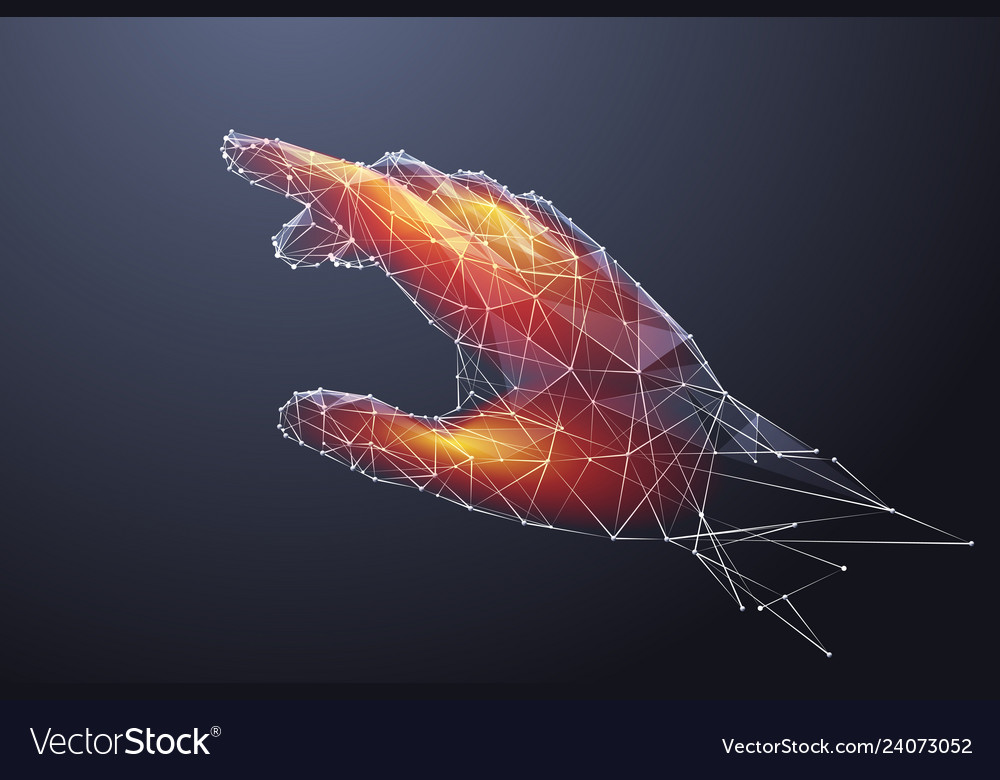 Hand touching low poly color