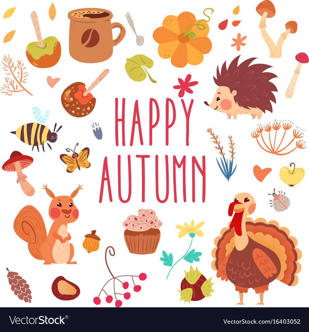 Happy autumn cute set