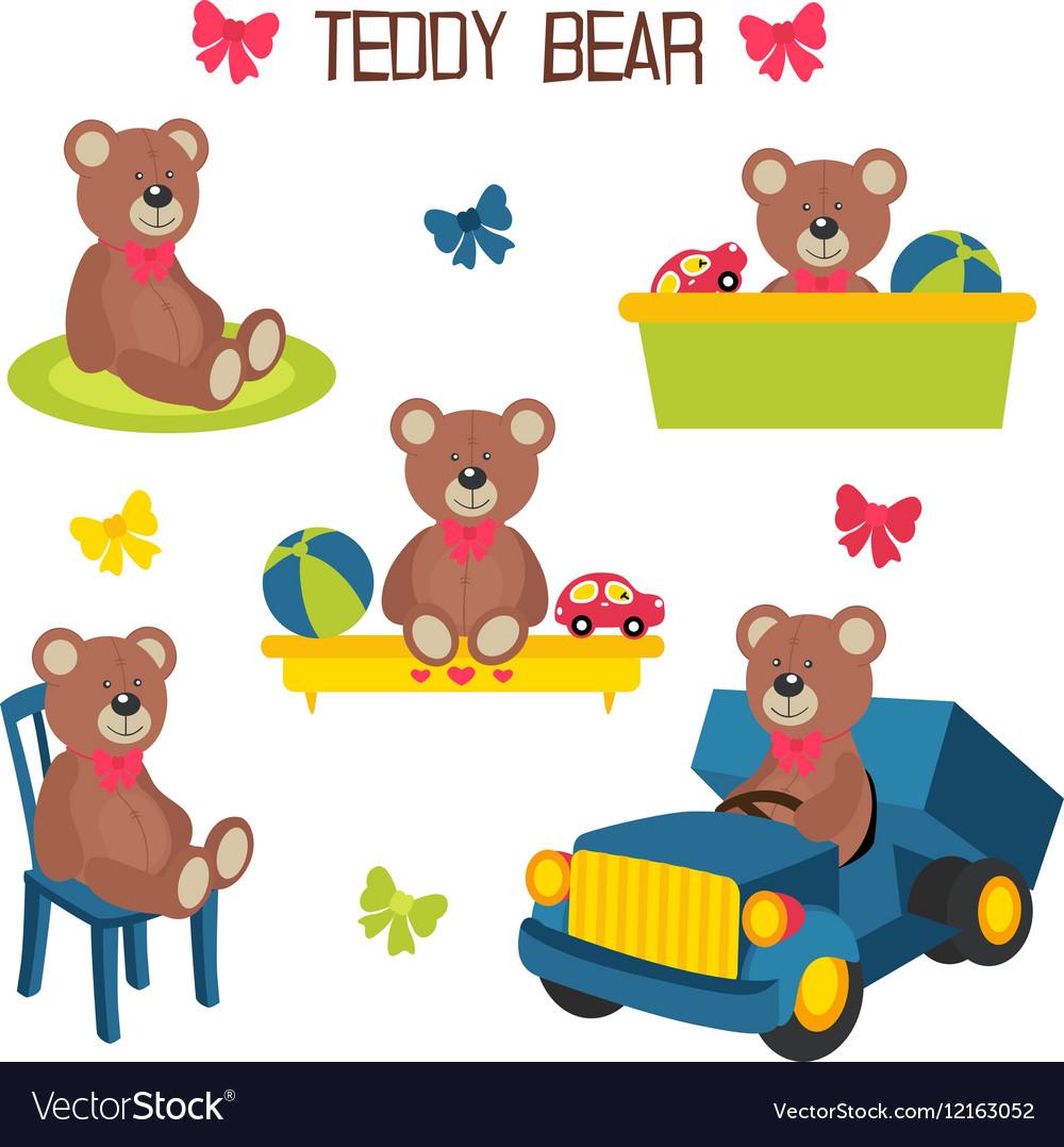 Set of isolated teddy bear