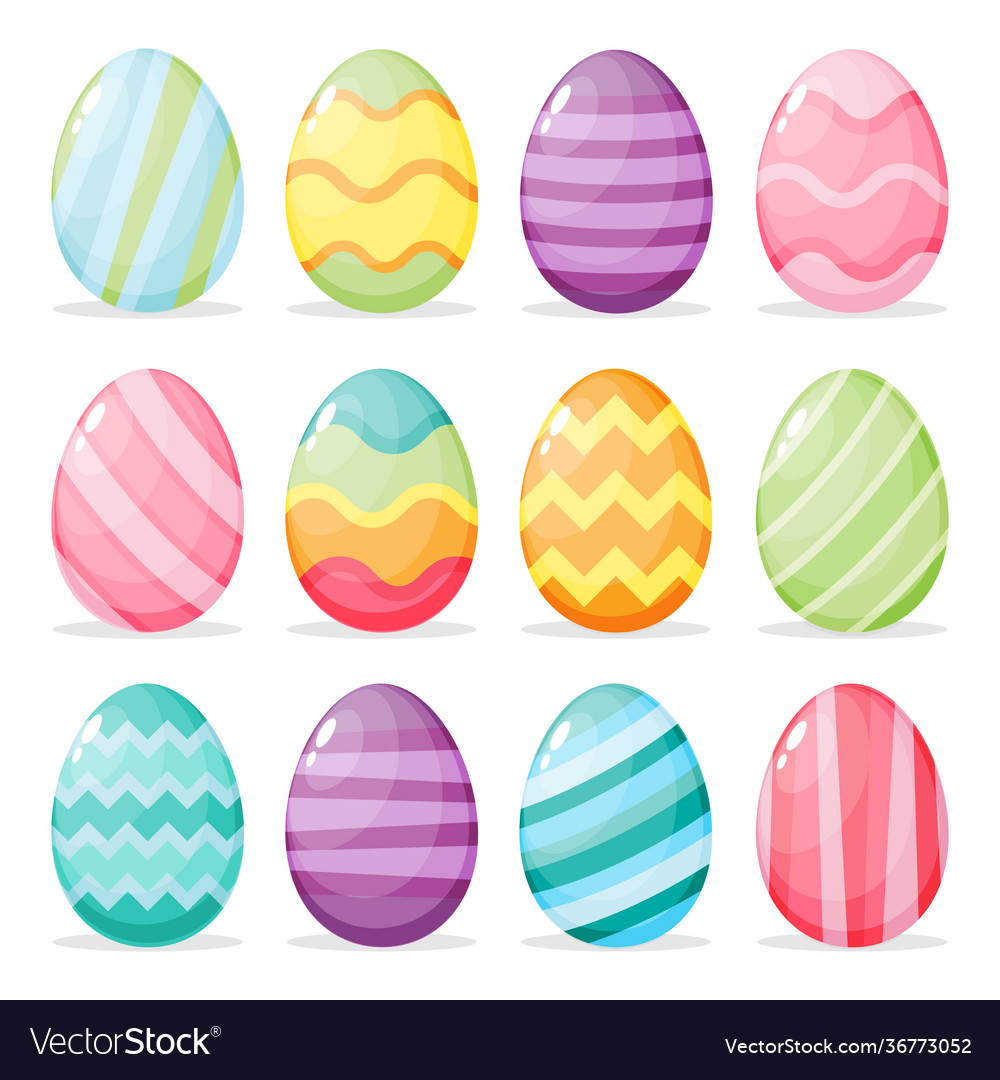 Set painted easter eggs