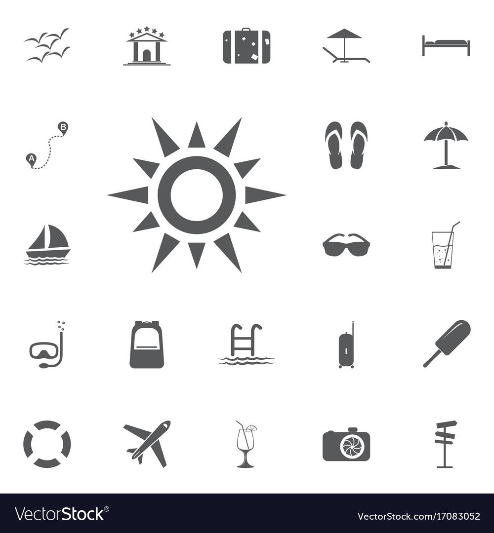 Sun line icon summer set