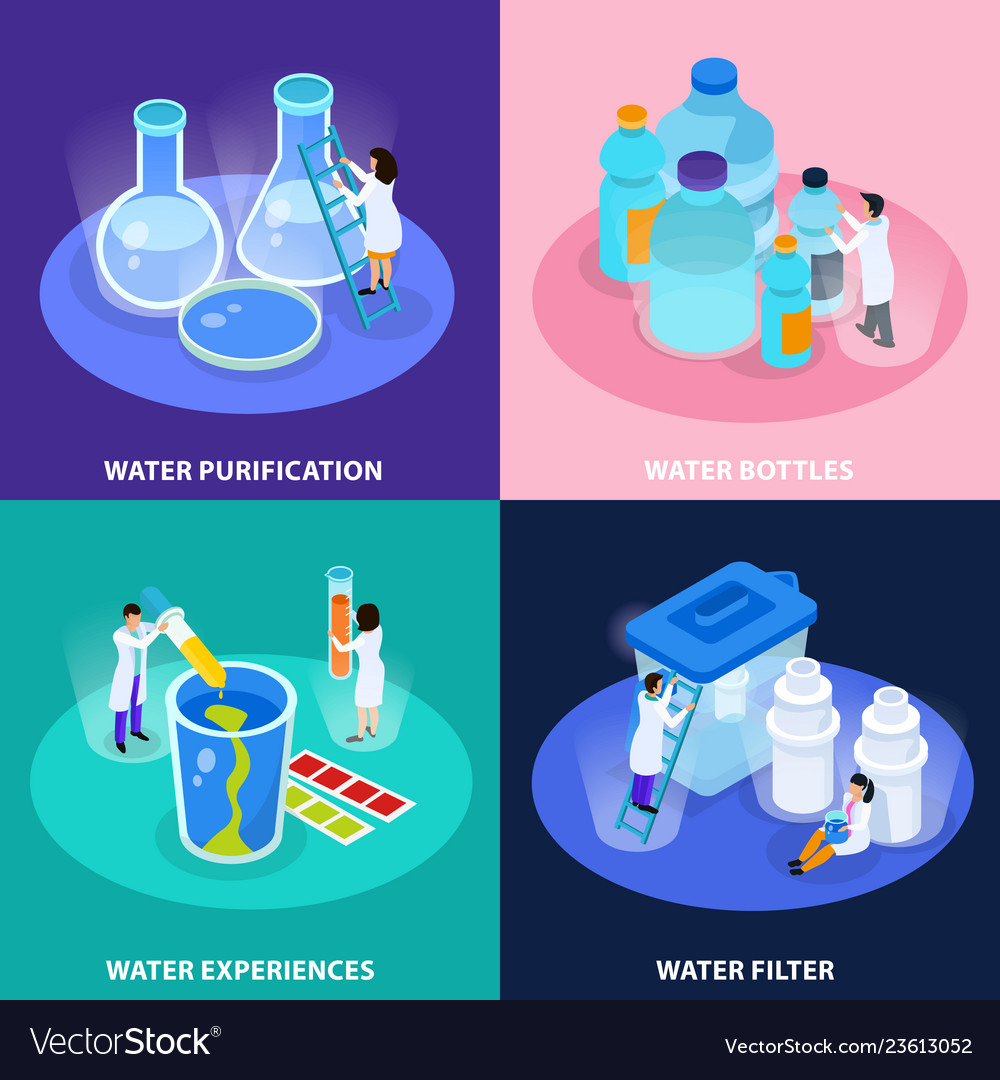 Water purification isometric icon set