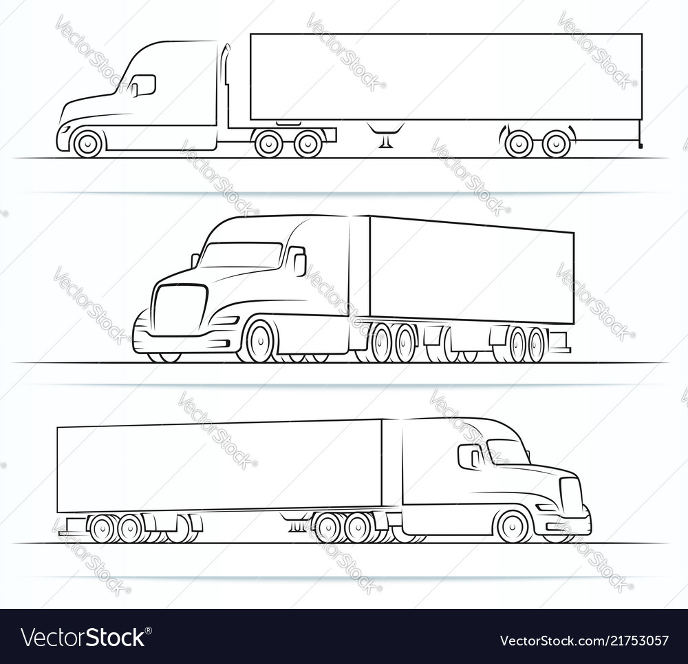 American truck silhouettes outlines contours