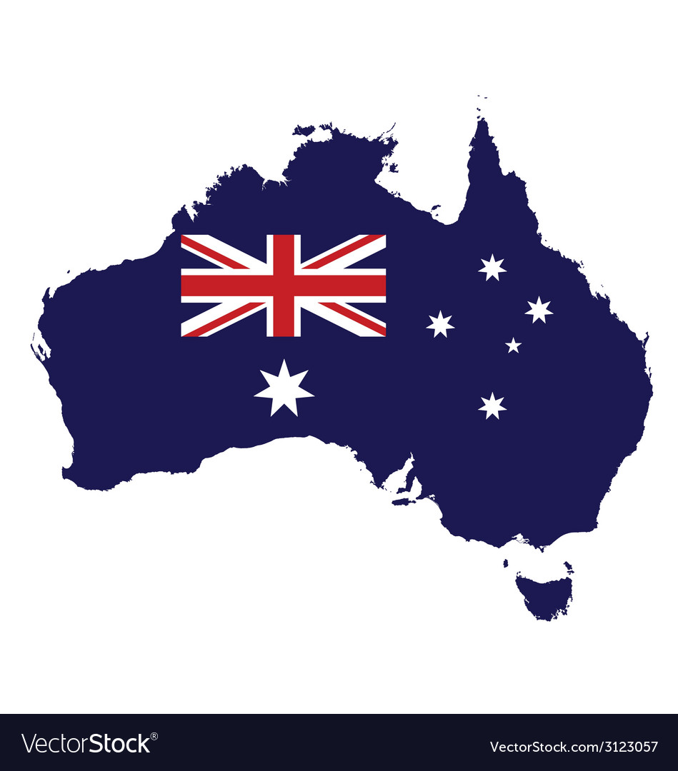 Australia Map With Flag.Australia Map Flag