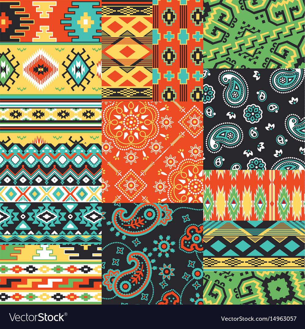 Bandanna kerchief fabric patchwork vector image