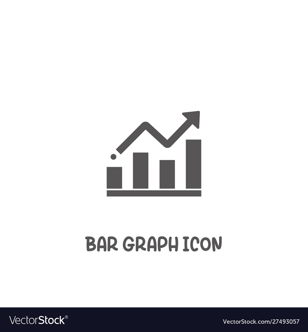 Bar graph icon simple flat style vector