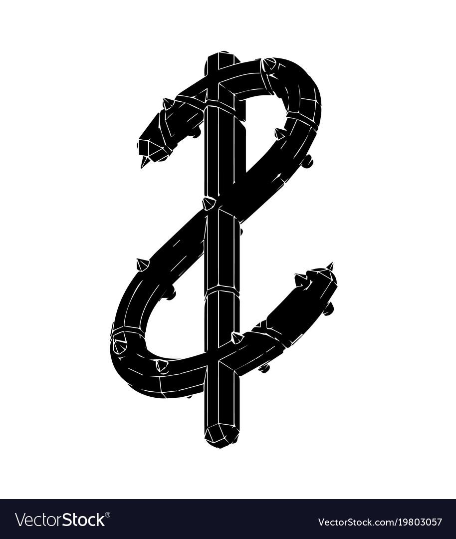 Black 3d model of dollar