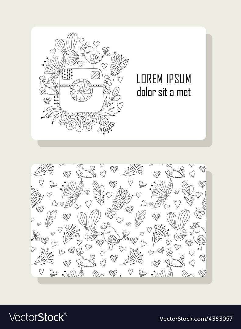 Card with hand drawn floral elements and photo