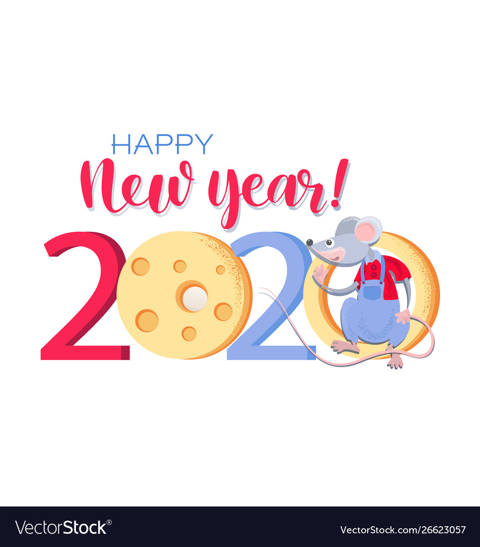 Happy New Year 2020 Funny.Funny Rat With Cheese Happy New Year 2020