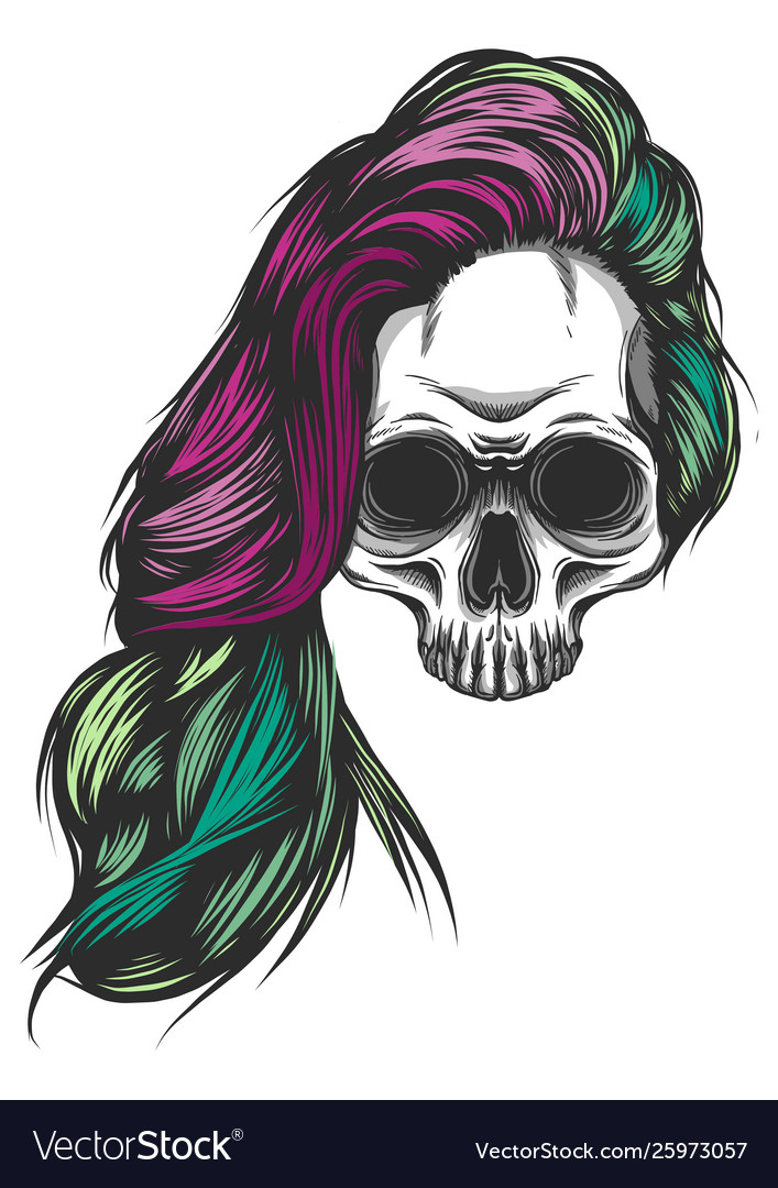 Girl with skeleton make up hand drawn