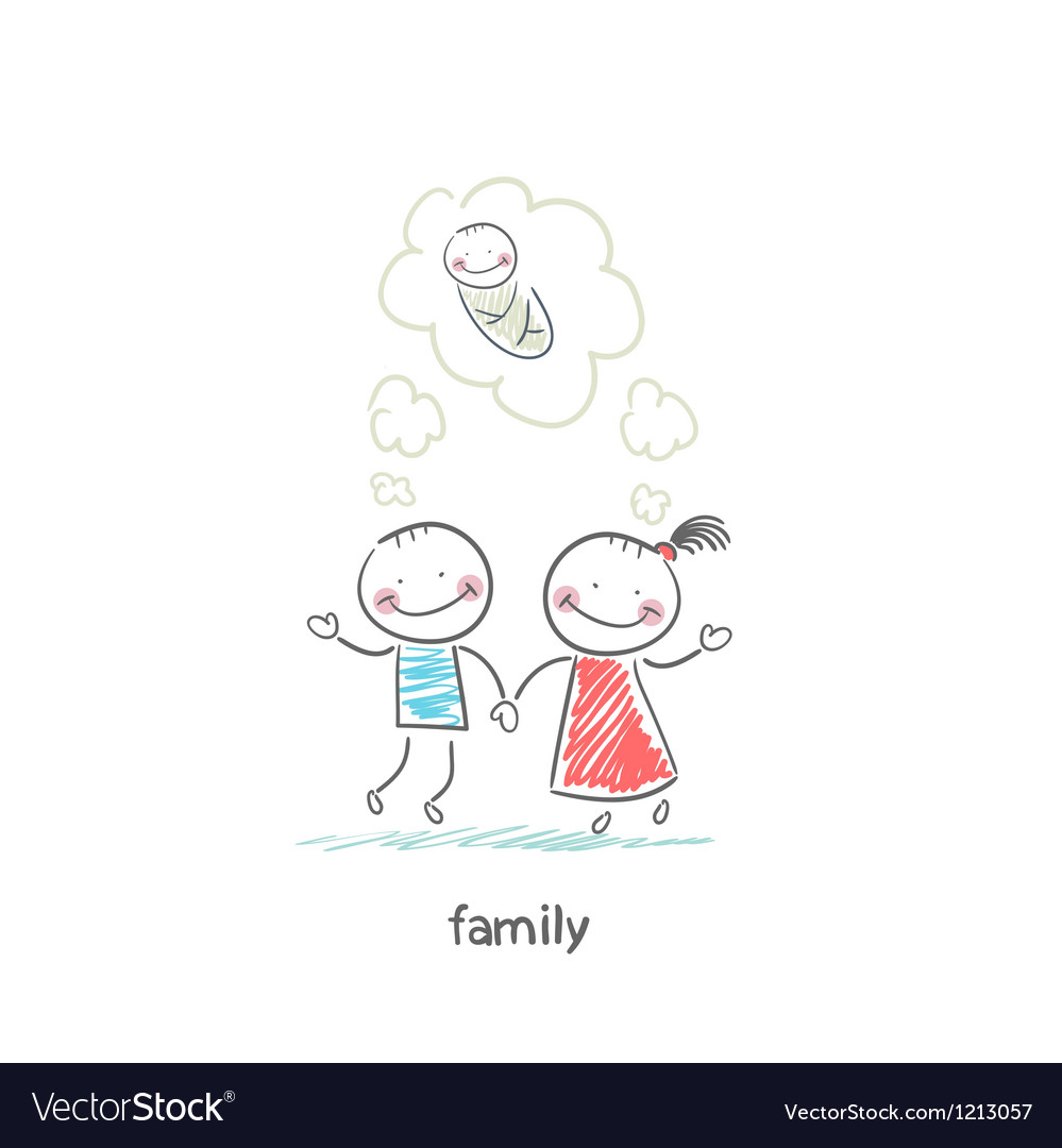 Happy family is waiting for the birth vector image