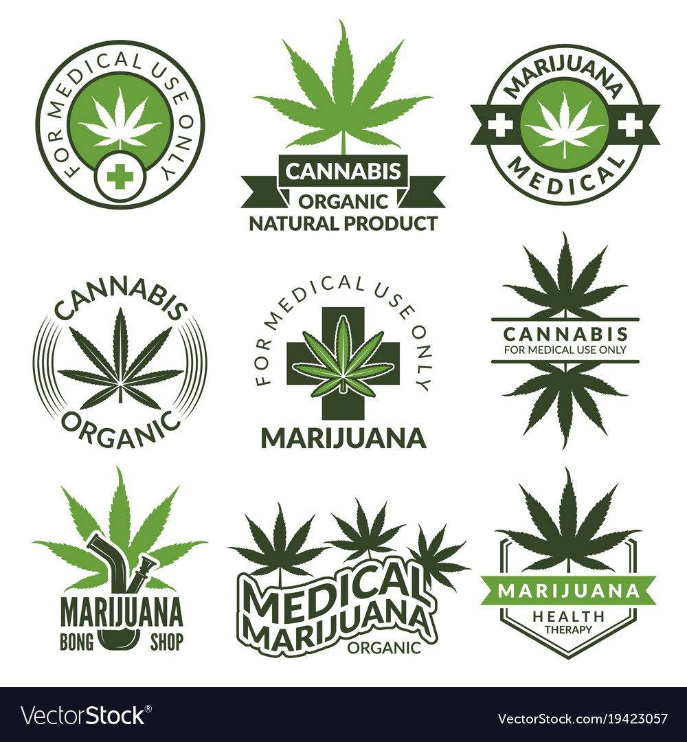 Labels set with different pictures of marijuana