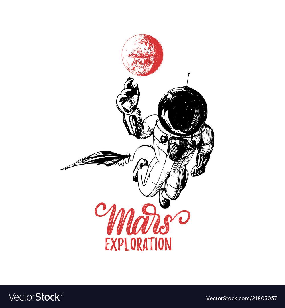 Mars exploration handwritten phrase drawn