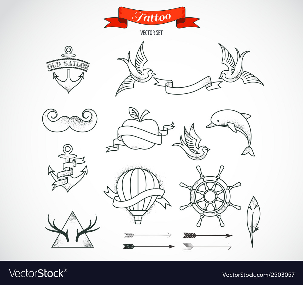 Set modern tattoo art