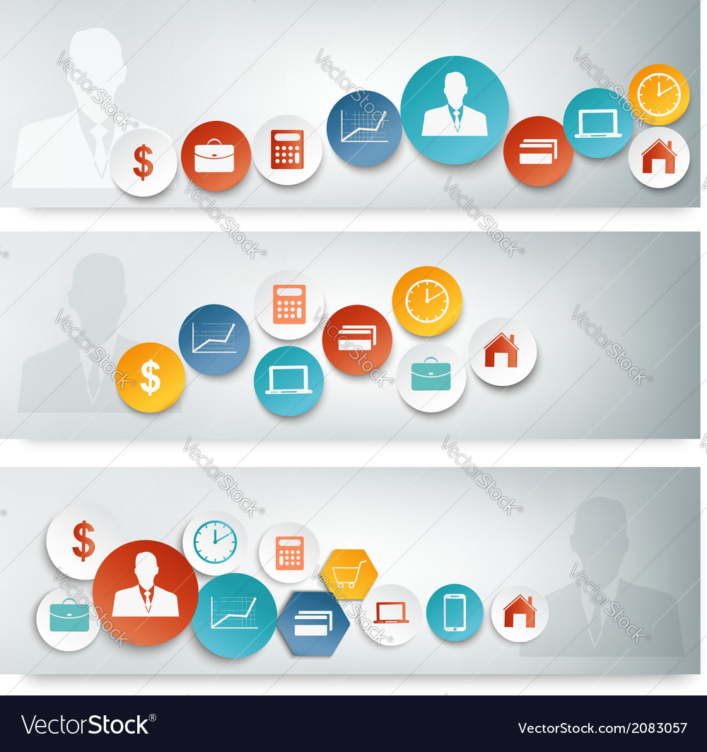Set of business banners with colorful icons vector image