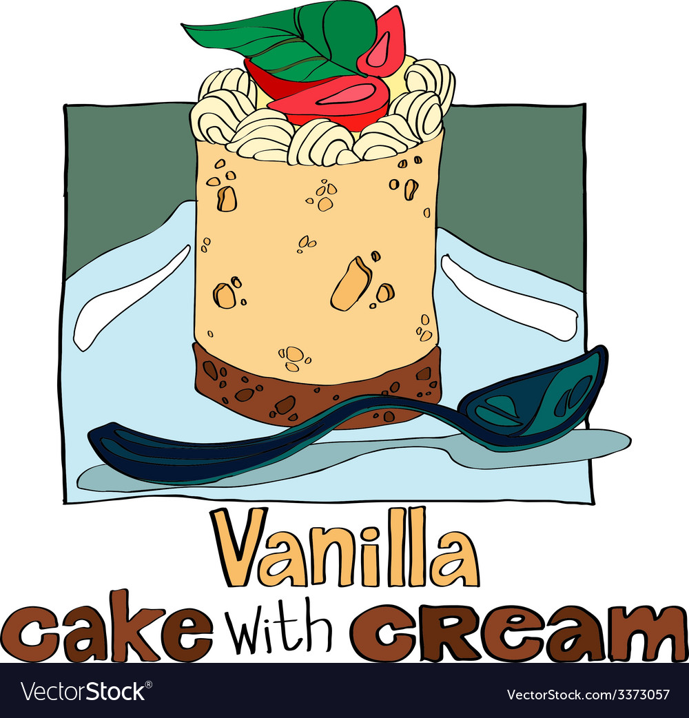Vanilla cake with cream